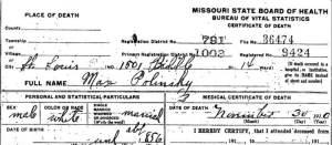 Mordecai Hirsh death certificate