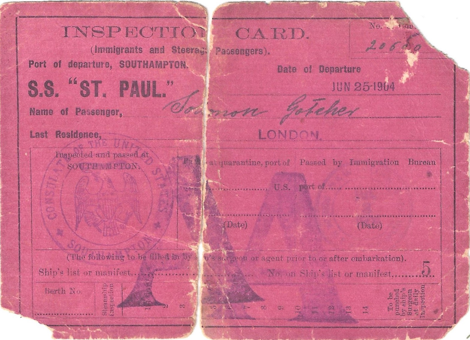 1904 Gotcher inspection card